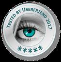 Siegel mit Aufschrift_tested by Userfriend (3-5 Sterne-Zertifizierung möglich